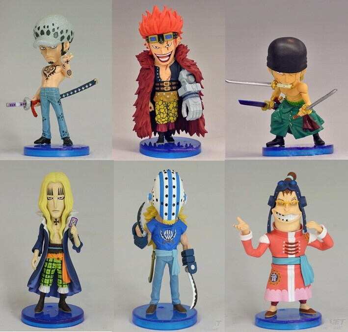 6 adet Mini One Piece Anime Onbir Supernovas 97th PVC Action Figure Modeli Koleksiyon Modeli (set başına 6 adet) opp torba