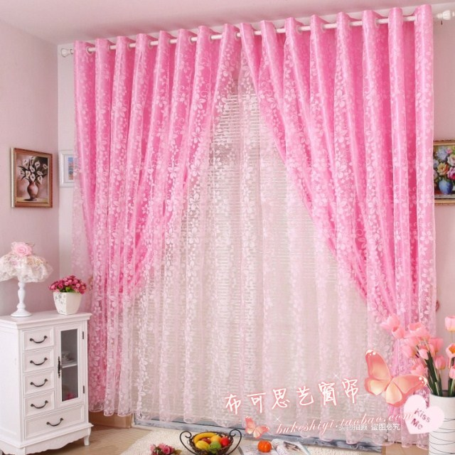 Rustic pink flock printing curtain shalian window screening princess real finished products customize curtain