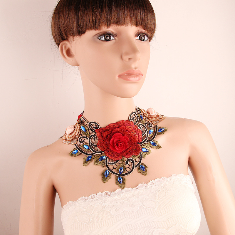 Chocker Lace Gothic Necklace Ethnic Handmade False Collar Necklace Crystal Beads Women Red Rose Flower Necklace Duftgold