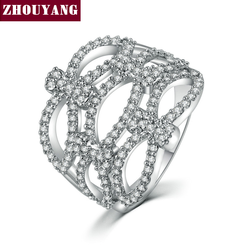 ZHOUYANG New Luxurious Unique Shaped Cubic Zirconia Silver Color Fashion Ring Jewelry For Women Party Wedding ZYR705