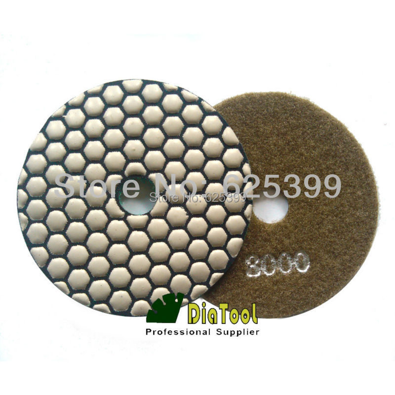 DIATOOL 4pcs Grit 3000 4/100mm Diamond Dry Polishing Pads For Granite Marble Resin Bond Working Without Water