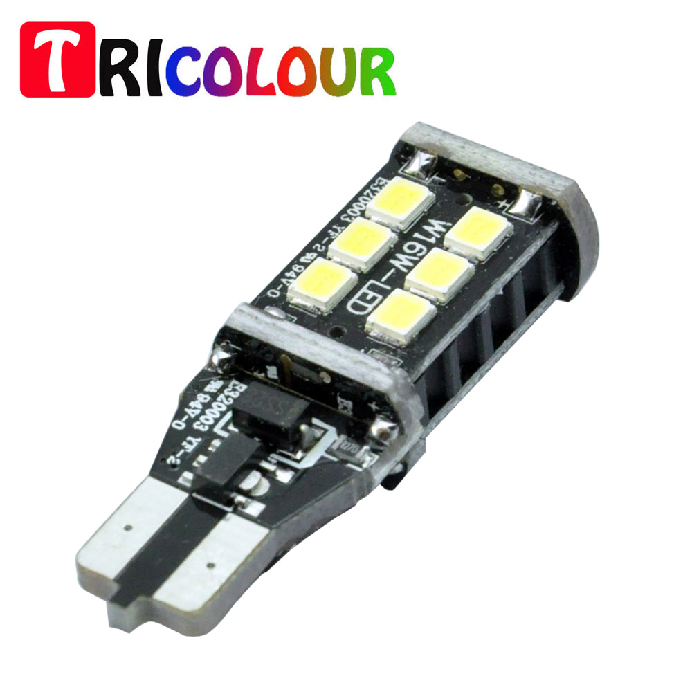 TRICOLOUR 20X T15 W16W 921 LED CANBUS Extreme 3535 Çip LED yüksek Güç Ampuller T10 W5W LED Ampuller TB120 ile Uyumlu