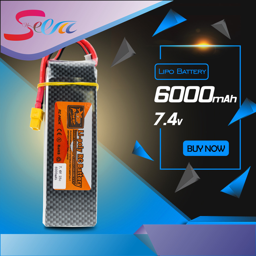 ZOP 7.4v 6000mAh Lipo battery 25C batteries T / XT60 plug For Airplane Traxxas Car Monster Truck wholesale